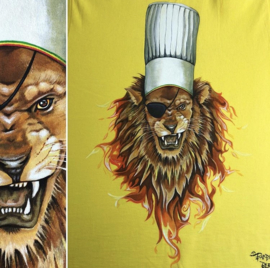 HAND PAINTED T-SHIRT > LION / CHEF / FIRE / PIRATE