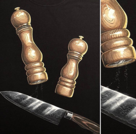 HAND PAINTED T-SHIRT > PEPPER / SALT / CHEF'S KNIFE