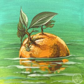 #DAILYPAINTING 006 🍊🌱💚
