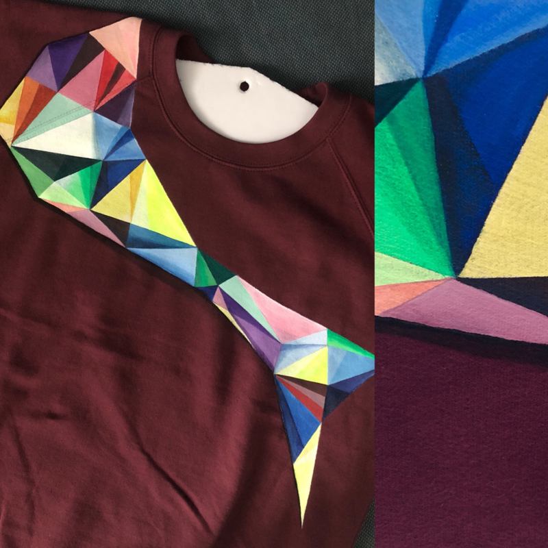 HAND PAINTED SWEATER > COLORFUL ABSTRACT TRIANGLES