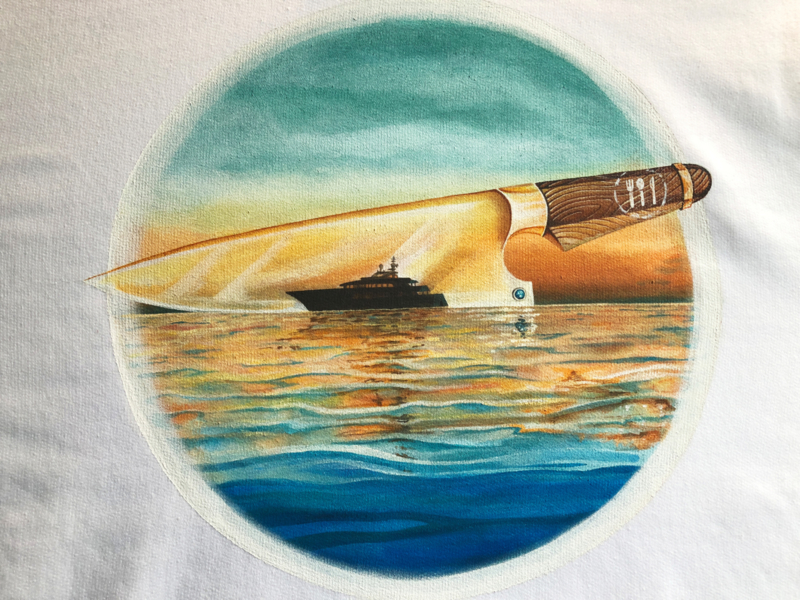 HAND PAINTED T-SHIRT > CHEF'S KNIFE / YACHT /  SUNSET / SEA