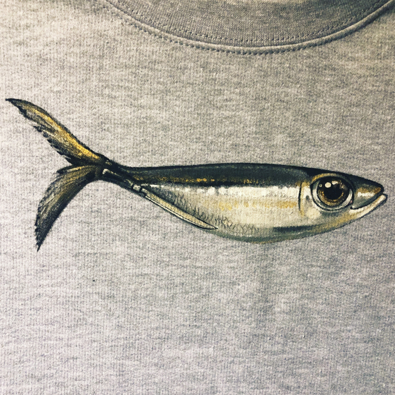 HAND PAINTED SWEATER > FUNKY SARDINE / BIG EYE / JAPANES CHEF'S KNIFE