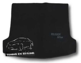 CLASSIC Velours Kofferbakmat met logo Peugeot 307sw wagon