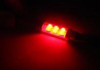 Rode 6 LED lampen C5W/C10W/C21W, SV8, 5-8 12V, interieur verlichting