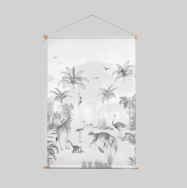 Textiel Poster - Wildlife's playground zwart wit