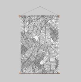 Textielposter - BARBADOS zwart/wit