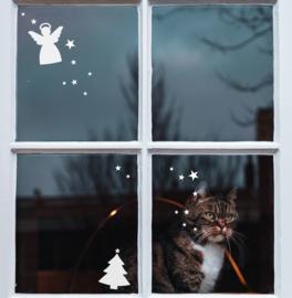 Raam sticker - Engel en kerstboom