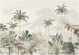 Jungle Behang - Wandgrote afbeelding - TROPICAL WILDERNESS beige/green
