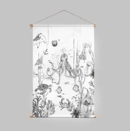 Textielposter - UNDERWATER WONDERS zwart/wit