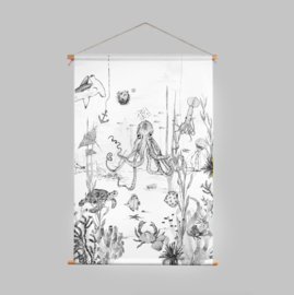 Textile Poster - UNDERWATER WONDERS black/white