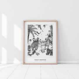 Personalized Poster - Prehistoric black/white