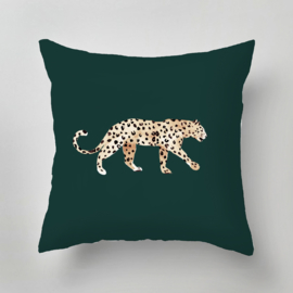 Kussen - LEOPARD PLACEMENT green