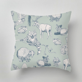 Kussen - FOREST FRIENDS mint/soft teal
