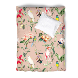 Duvet Cover Set BIRDS OF PARADISE peach blush - single
