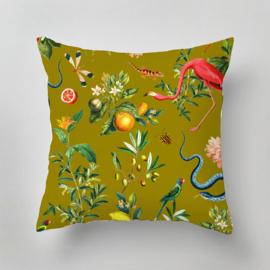Outdoor Pillow -  GARDEN OF EDEN olive gold