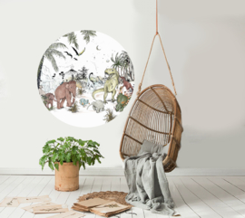 Round wall sticker - Prehistoric