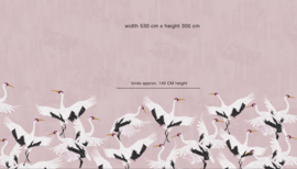 Bird Wallpaper - Full wall sized image - STORK PINK