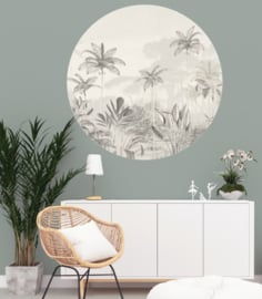 Round wall sticker - Tropical Wilderness beige