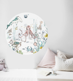 Round wall sticker Underwater Wonders
