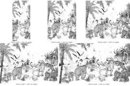 Behang - Wandgrote afbeelding - PREHISTORIC zwart/wit