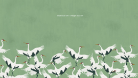Bird Wallpaper - Full wall sized image - STORK GREEN