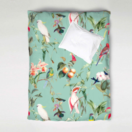 Duvet Cover Set BIRDS OF PARADISE sea mint - single