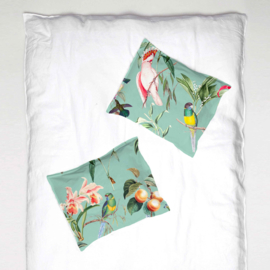 Pillowcase - BIRDS OF PARADISE sea mint- 1 cover