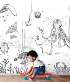 Oceaan Behang - Wandgrote afbeelding - UNDERWATER WONDERS zwart/wit