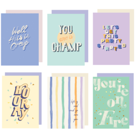 Set 6 Greeting cards - QUOTE