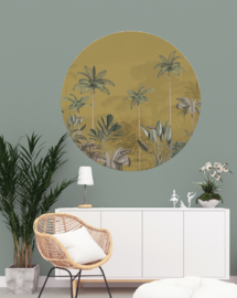 Round wall sticker - Tropical Wilderness ochre
