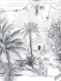 Jungle Wallpaper - Full wall sized image - RAINFOREST black/white
