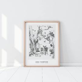 Personalized Poster - Magical Forest black/white