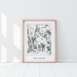 Gepersonaliseerde Poster - Magical Forest zwart/wit