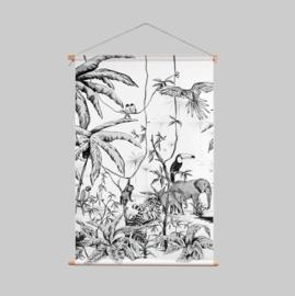 Textielposter - JUNGLE zwart/wit