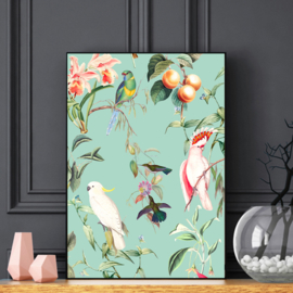 Poster - BIRDS OF PARADISE SEA MINT - A5, A4, A3, A2