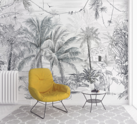Jungle Behang - Wandgrote afbeelding - RAINFOREST black/white