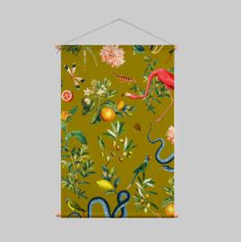Textielposter - GARDEN OF EDEN olive gold