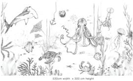Behang - Wandgrote afbeelding - UNDERWATER WONDERS zwart/wit
