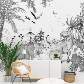 Wallpaper - Full wall sized image  - PREHISTORIC black/white