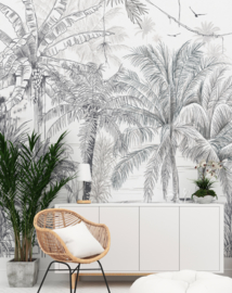 Wallpaper - Full wall sized image - RAINFOREST black/white