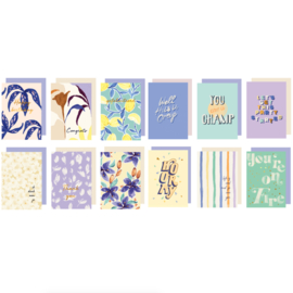 Set 12 Greeting cards - ARTY BOTANICS & QUOTES