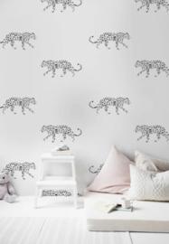 21) Behang Leopard zwart/wit - 318x300cm
