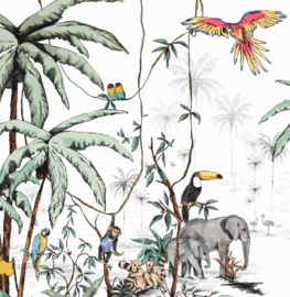 Jungle Behang - Wandgrote afbeelding - JUNGLE tonale kleuren