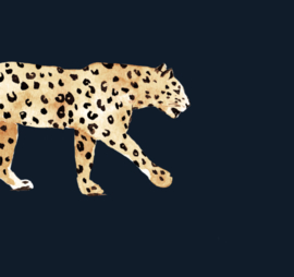 Luipaard Behang - LEOPARD NAVY BLUE