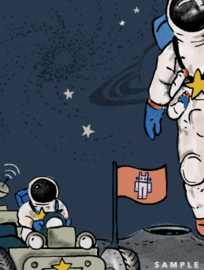 Astronaut wallpaper  - Full wall sized image - INTO THE GALAXY dark
