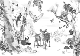 Animal Wallpaper - Full wall sized image - MAGICAL FOREST black/white