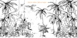 Behang - Wandgrote afbeelding - JUNGLE zwart/wit