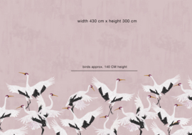 Vogel Behang - Wandgrote afbeelding - STORK PINK