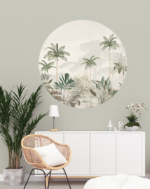Round wall sticker - Tropical Wilderness beige/green
