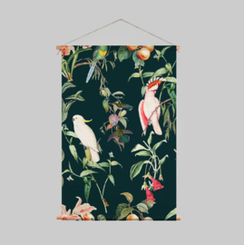 Textile Poster - BIRDS OF PARADISE deep teal